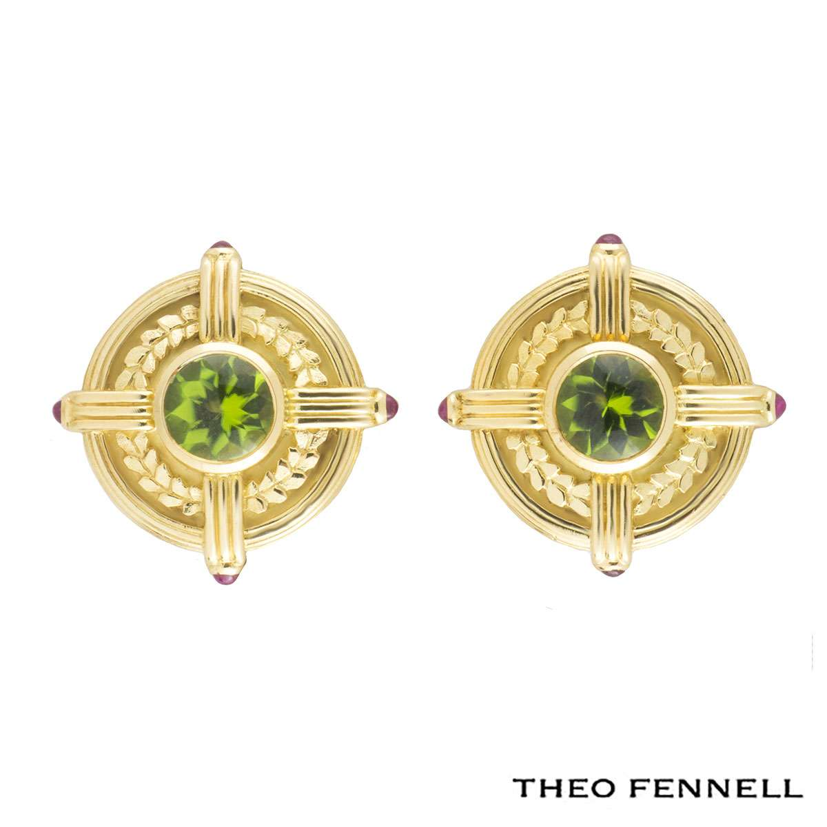 Theo Fennell Peridot and Ruby Earrings